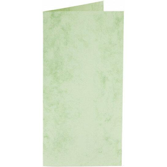 (No. 22067) 50x kaart dubbel staand Marble 105x210mm-A5/6 appelgroen 200 grams