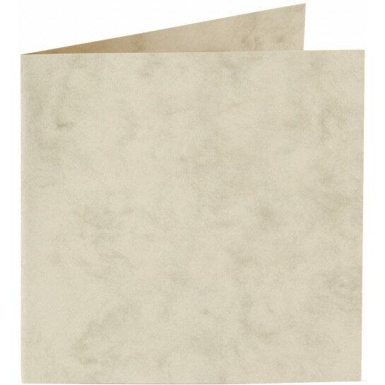(No. 31162) 6x kaart dubbel staand Marble 152x152mm ivoor 200 grams