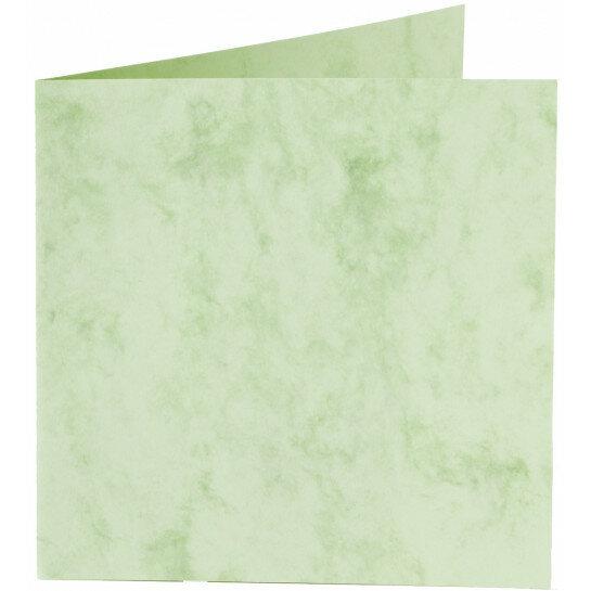 (No. 24867) 50x kaart dubbel staand Marble 152x152mm appelgroen 200 grams