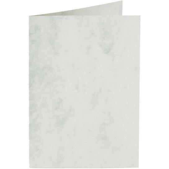 (No. 30961) 6x kaart dubbel staand Marble 105x148mm-A6 grijswit 200 grams