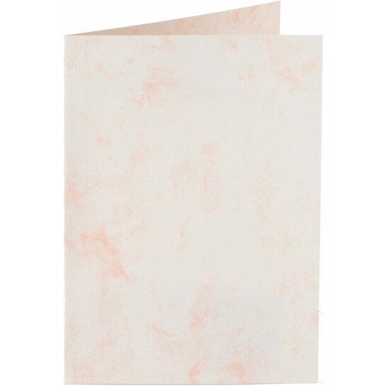 (No. 20664) 50x kaart dubbel staand Marble 148x210mm-A5 witroze 200 grams