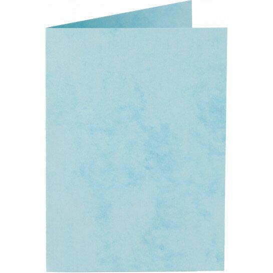 (No. 20665) 50x kaart dubbel staand Marble 148x210mm-A5 hemelsblauw 200 grams
