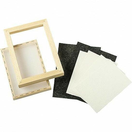 (No. 202040) A4 DIY Papiermaakset met papierzeef 2 x vilt, 2 x cellulose en een handleiding