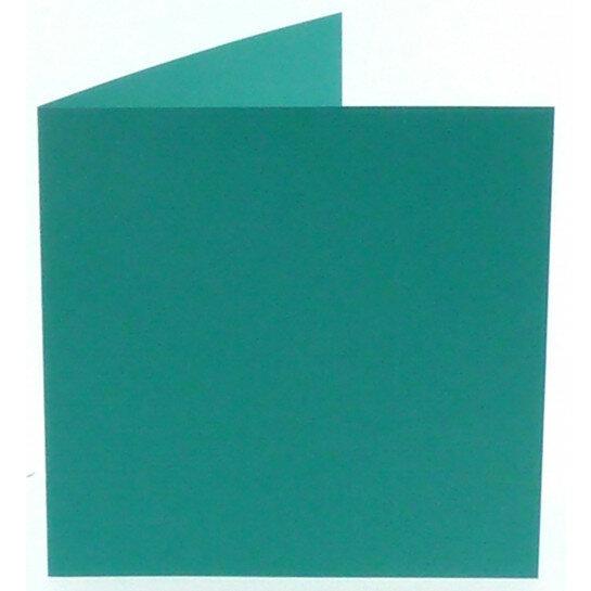(No. 248966) 50x kaart dubbel staand Original 152x152mm turquoise 200 grams