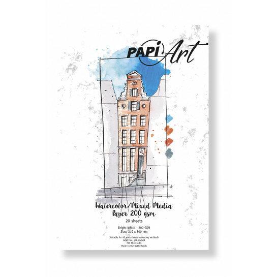 (No. 363030) Aquarel/Mixed Media papier Bright White 210x300 mm 200g 20 vel
