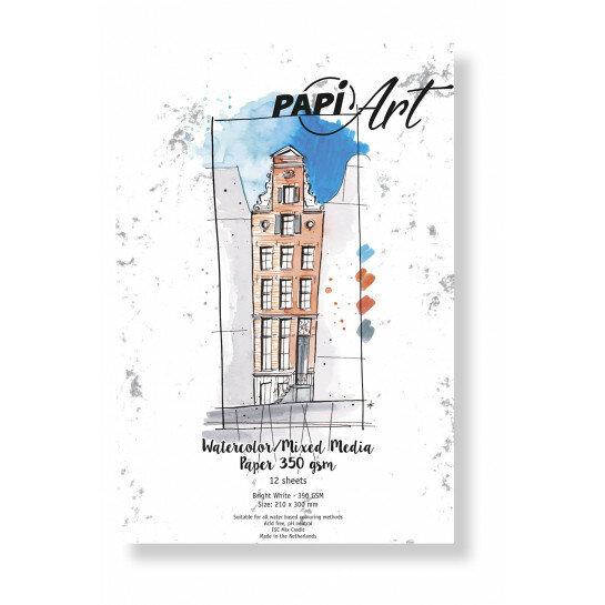 (No. 363130) Aquarel/Mixed Media papier Bright White 210x300mm 350g 12 vel