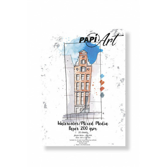 (No. 364030) Aquarel/Mixed Media Bright White papier 150x210mm 200g 20 vel