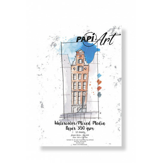 (No. 364130) Aquarel/Mixed Media papier Bright White 150x210mm 350g 12 vel