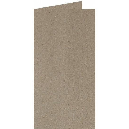 (No. 220322) 50x kaart dubbel staand 105x210mm- DL Recycled Kraft Grijs 220 grams (FSC Recycled 100%)