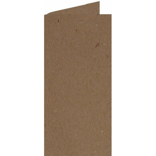 (No. 220323) 50x kaart dubbel staand 105x210mm- DL Recycled Kraft Bruin 220 grams (FSC Recycled 100%)