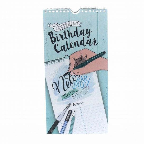 (No. 830400) Birthday Calendar Lettering enkelzijdig