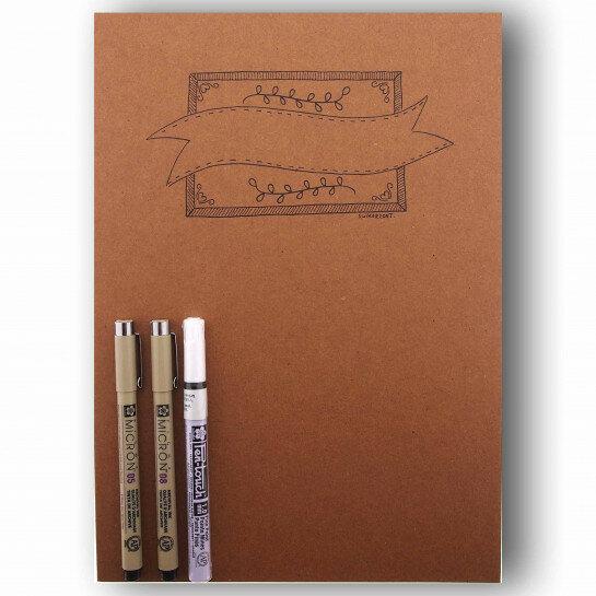 (No. 214802) A4 Oefenblok Handlettering + 3 pennen