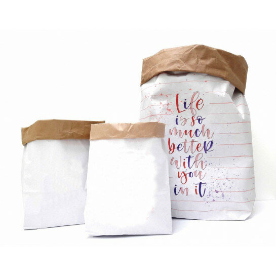 (No. 82100) Set a 3 Paperbag blanco