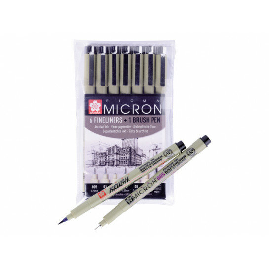 (No. POXSDK7B) Pigma Micron Zwart 6 st.+1brushpen