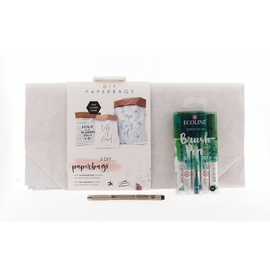(No. 82202) Set paperbags Interior + fineliner & brushpennen