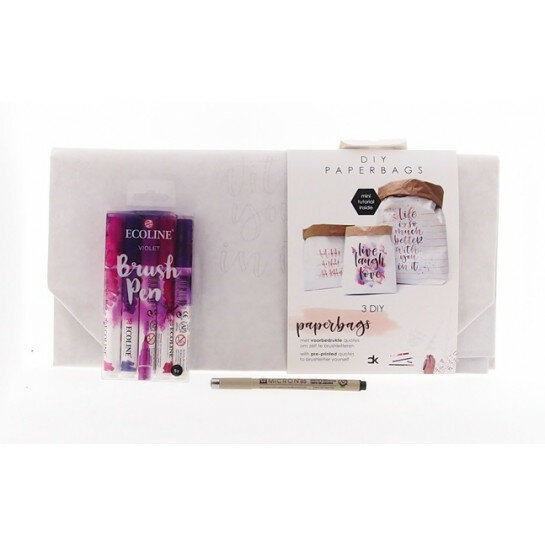 (No. 82201) Set paperbags Love + fineliner & brushpennen