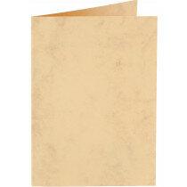 (No. 20663) 50x kaart dubbel staand Marble 148x210mm-A5 okergeel 200 grams -UITLOPEND-