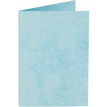 (No. 32765) 6x kaart dubbel staand Marble 115x175mm hemelsblauw 200 grams