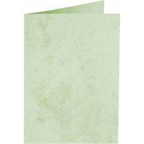 (No. 31367) 6x kaart dubbel staand Marble 148x210mm-A5 appelgroen 200 grams