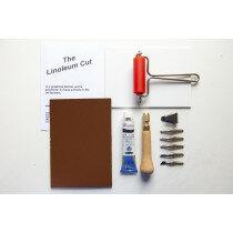 (No. 121800) DIY Linolcut starter set A6 5 cutting tools, black ink, ink roll, A6 Linol plate