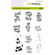 (No. 130501/1806) CraftEmotions clearstamps A6 - handletter Sm - diverse (Eng)