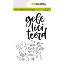 (No. 130501/1825) CraftEmotions clearstamps A6 - handletter - gefeliciteerd (NL)