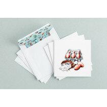 (Art.no. 910025) Set a 3 dubbele kaart/envelop Eggs Style Grocery - Karlijn van de Wier