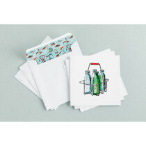 (Art.no. 910023) Set a 3 dubbele kaart/envelop Milkbottles Style Grocery - Karlijn van de Wier