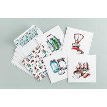 (Art.no. 910026) Set a 5 dubbele kaart/envelop Assorti Style Grocery - Karlijn van de Wier
