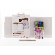 (No. 82200) Set paperbags blanco + fineliner & brushpennen
