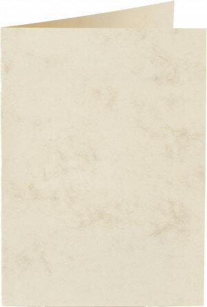 (No. 20662) 50x kaart dubbel staand Marble 148x210mm-A5 ivoor 200 grams