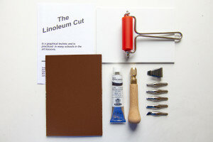 (No. 121800) DIY Linolcut starter set A6 5 cutting tools, black ink, ink roll, A6 Linol plate