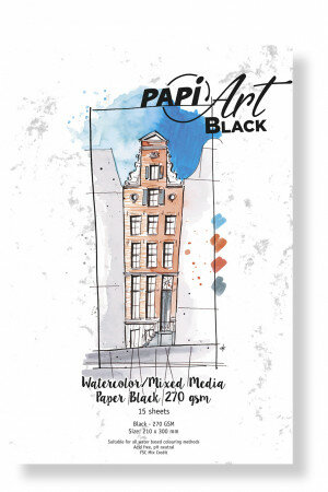 (No. 363330) Aquarel/Mixed Media papier Black 63-90 210x300mm 270g 15 vel