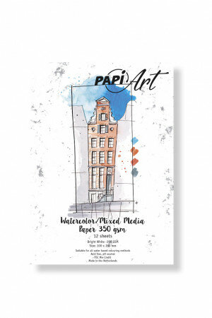 (No. 366130) Aquarel/Mixed Media papier Bright White 100x150mm 350g 12 vel