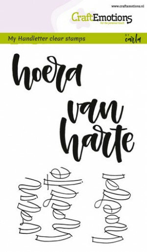 (No. 130501/1823) CraftEmotions clearstamps A6 - handletter - hoera van harte (NL)