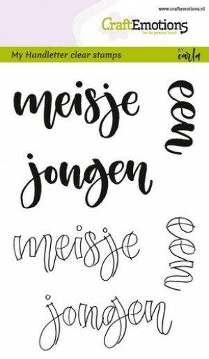 (No. 130501/1821) CraftEmotions clearstamps A6 - handletter - meisje jongen (NL)