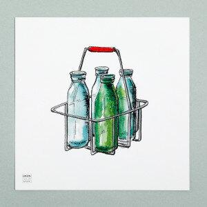 (Art.no. 910013) Poster 'Grocery' Milkbottles Design Karlijn van de Wier